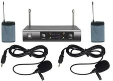 NEW PRO UHF DUAL CHANNELS WIRELESS LAVALIER TIE CLIP ON MICROPHONE SYSTEM