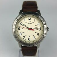 Timex Indiglo Mens Tachymeter Easy Reader Brown Leather Band Watch