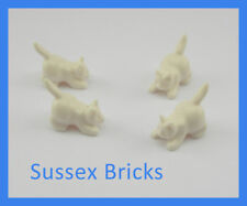Lego Animal 4x White Crouching Cat Kitten Pet City Castle Potter 6251 New Pieces