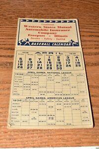 Vintage 1936 Baseball Calendar Pennant Race 1903-1935 Freeport Illinois Complete