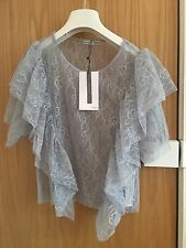 Zara Pale Blue Lace Frilled Blouse T Shirt Top Size Small New With Tags