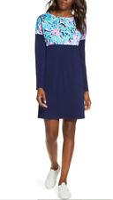 New Lilly Pulitzer Finn Blue Printed Shift Multi Bermudaful Shirt Dress 3/4 S M