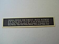 Detroit Red Wings 2001-2002 Stanley Cup Nameplate Hockey Jersey Case 1.5 X 8