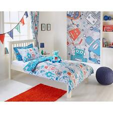 Robots Boys Pencil Pleat Curtains and Matching Tiebacks 66 x 72 Fully Lined...