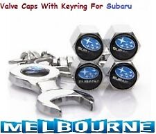For Subaru Logo Emblem Wheel Tyre Tire Valve Air Dust Cover Screw Caps Gift KeyR
