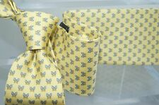 New Salvatore Ferragamo Men's Butterflies Tie Yellow Classic Print Silk