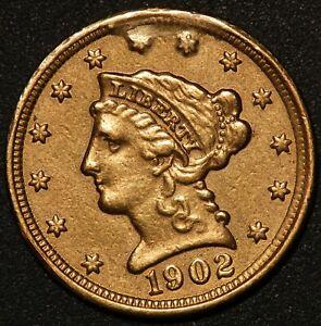 1902 U.S. Liberty Head $2.50 Quarter Eagle Gold Coin