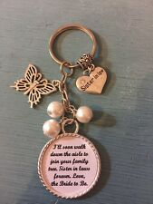 Wedding SISTER IN LAW Keyring Keepsake Favour Gift ANY WORDING ANY COLOURS