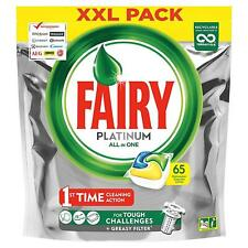 Fairy Platinum Dishwasher Tablets Lemon All-in-One Disolving Pouches XXL 65 Pack
