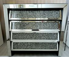 Mirrored Chest Of 4 Drawers Sparkly Silver Diamond Crush Crystal L80cm H75.5 D42
