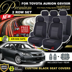 Premium BLACK SEAT COVERS fits Toyota Aurion GSV50R AT-X SPORTIVO 4/2012-2017