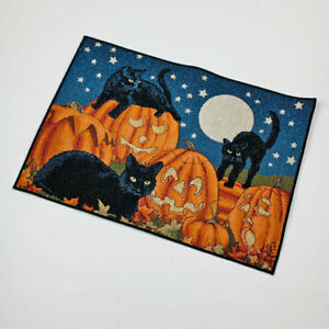 Halloween Fun Pumpkins Black Cats by Full Moon Sky Single Tapestry Placemat