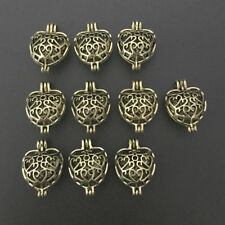 10pcs Antique Bronze Heart Pearl Cage Locket Pendant Essential Oil Diffuser Gift