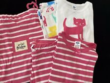 NEW MINI BODEN 2 Pairs Twin Pack Pink Stripe Kitty Cat Pajamas Girls Sz 4 Years