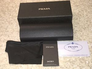 PRADA Eyeglasses hard Case black , Outer box and Cleaning Cloth NEW
