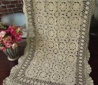 Vintage Crochet Table Runner Handmade Cotton Lace Doilies Mats 50x100cm Wedding