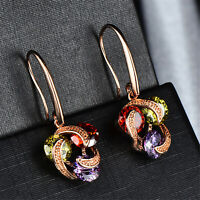 Women Ruby/Peridot/Amethyst Drop/Dangle Hook Earrings 18K Rose Gold Jewelry Gift