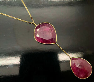 """14K Yellow Gold 49ctw Chunky Natural Red Ruby Gemstone Lariat Drop Necklace-18"""""""