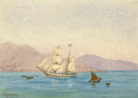 Charles J. Shore, French Schooner Brig off Menton Coast – 1881 watercolour