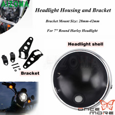 7'' Motorcycle Headlight Housing Head Bulbs Shell Mount Bracket For Harley Dyna