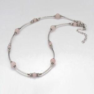"Rose Quartz Bead Necklace Crystal Reiki Healing Crystal 18"" Women UK Seller"