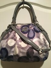 Coach Lot Set Blue Gray Signature Satin Leather Boho Handbag Satchel Coin Purse