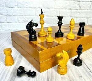 Wooden Chess USSR Full Set Grossmeister Vintage Soviet.King 9 cm 40X40 cm Russia