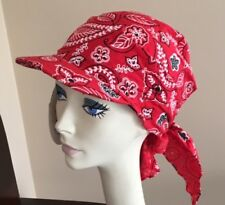 NWT Visor Brim Bandana by Lemon/Helen's Hats RED Great for Chemo Hair Loss