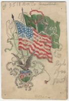 1920s Partially-Printed Irish & American Flags - American Eagle Design Card