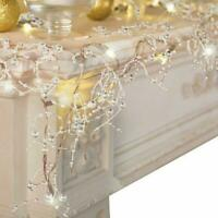 2020 Cordless Lighted Silver Berry-Beaded Holiday Christmas Decor DIY Y2M5