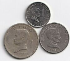 3 DIFFERENT 1 PISO COINS from the PHILIPPINES - 1973, 1985 & 2011 (3 TYPES)