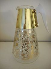 Vintage MCM Mid cent modern Dogwood Fred Press Pitcher Grey Gold Corning Glass
