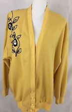 JOYCE SPORTSWEAR VINTAGE JACKET SIZE LARGE YELLOW BLACK EMBROIDERY FLORAL