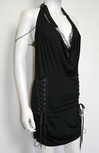 CHRISTIAN DIOR John Galliano Spring 2004 Vintage Mini Lingerie Dress LaceUp 38/M