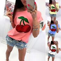 Women Summer Short Sleeve T Shirt Sequins Slim Casual Cherry Print Blouse Top