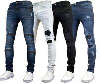 526Jeanswear Mens Branded Skinny Stretch Denim Rip Repair Distressed Jeans