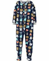 Boy Carters Fleece Footed Pajama Blanket Sleeper  7 8 14 Navy Tiger Wild Jungle
