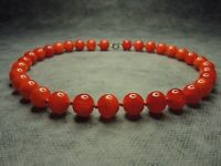 Vintage Czech Bohemian Red Round Beads Glass Necklace Knotted