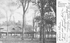 Davenport Iowa~Grand Isle~Summer Pavilion in Trees~B&W 1907 Postcard