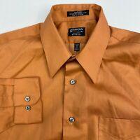 Arrow Fitted Button Up Shirt Mens Medium Orange Sateen Long Sleeve Casual