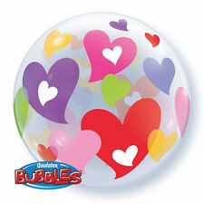 "I LOVE YOU BALLOON 22"" VALENTINE'S DAY COLOURFUL HEARTS BUBBLE HELIUM BALLOON"