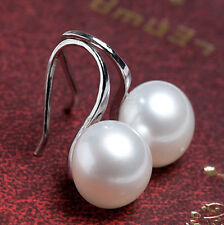 Women Lady Cute Pearl Silver Gold Plated Hook Ear Stud Earrings Jewelry Gift New