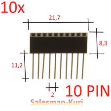 AUSVERKAUF !  10 Stück 10 Pin 2,54mm 11mm lang gerade Buchse Buchsenleiste