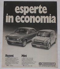 Advert Pubblicità 1974 INNOCENTI MINI COOPER / REGENT