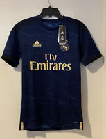 Adidas Real Madrid Blue Gold 2019 Away Soccer Jersey FJ3151 New Size XS UEFA