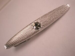 -Silver Tone & White Rhinestone Vintage Tie Bar Clip simple plain basic