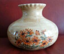 """Glazed Ceramic Hurricane Table Ceiling Lamp Shade 10"""" Fitter Tan Orange Flowers"""