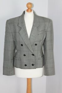 Vintage St Michaels Monochrome Houndstooth Pure New Wool Blazer 80s Size 12