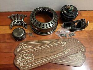 "Vintage SMC U52 Hugger Flush 52"" Ceiling Fan, Antique Brass / Bronze"