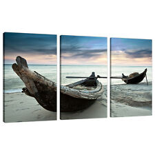 Three Piece Beach Canvas Wall Art Pictures Blue Boats Thailand 3107